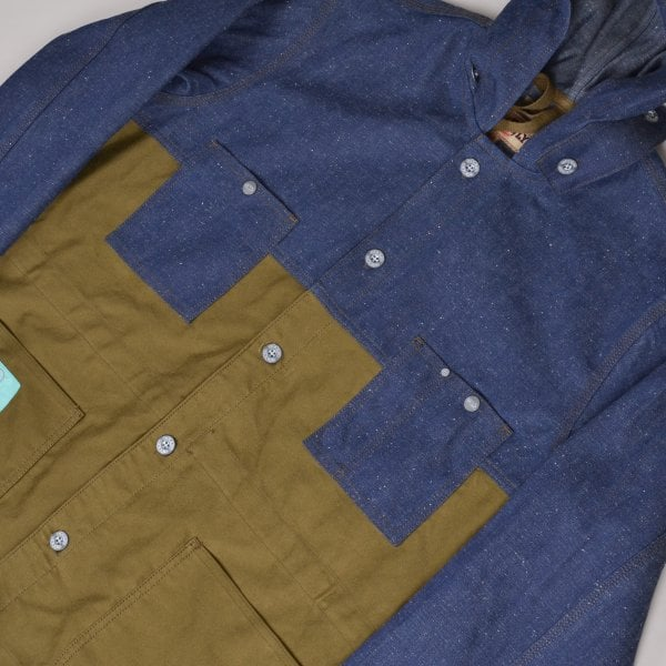 Nigel Cabourn x Lybro Split Army Hooded Chore Jacket - Denim/Moleskin