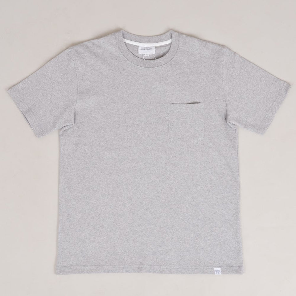 Norse Projects Johannes Pocket SS - Light Grey Melange