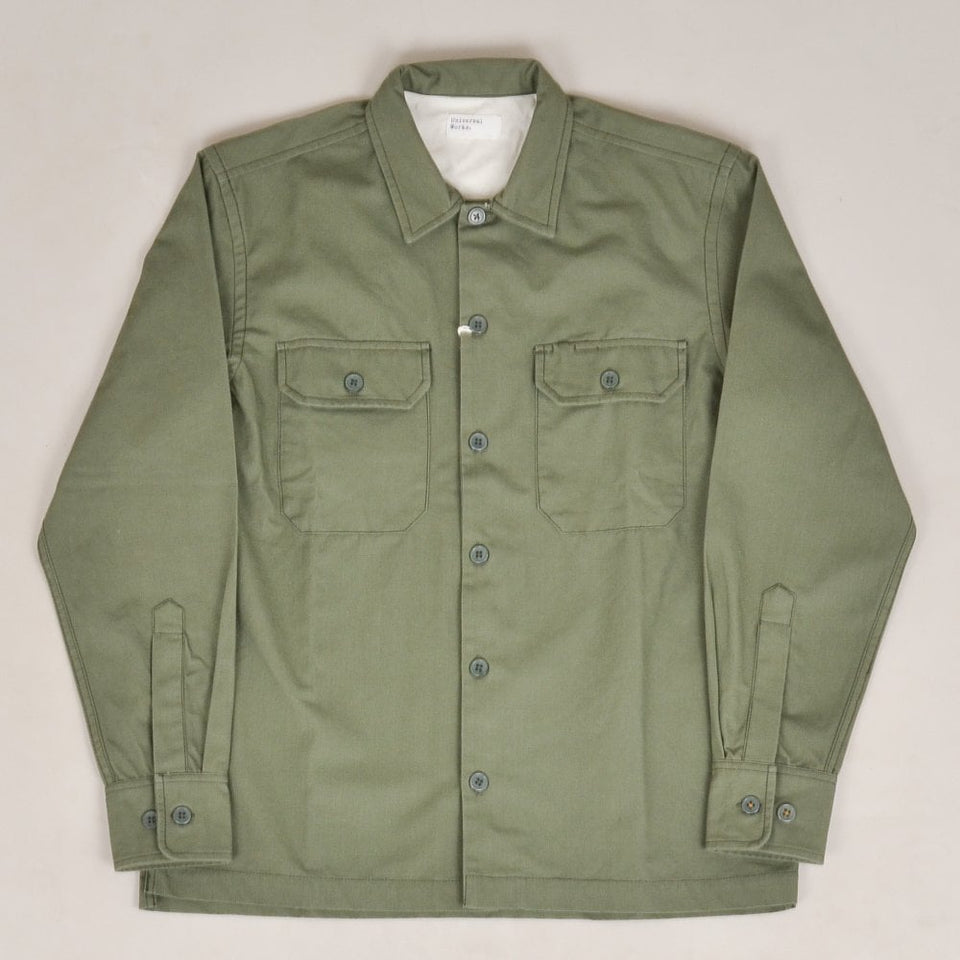 Universal Works L/S Utility Shirt Military Slub Cotton - Olive