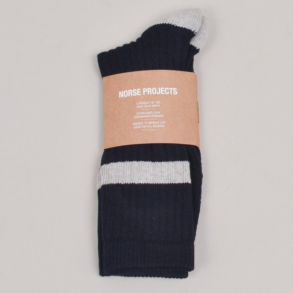 Norse Projects Bjarki Cotton Sport Sock - Dark Navy