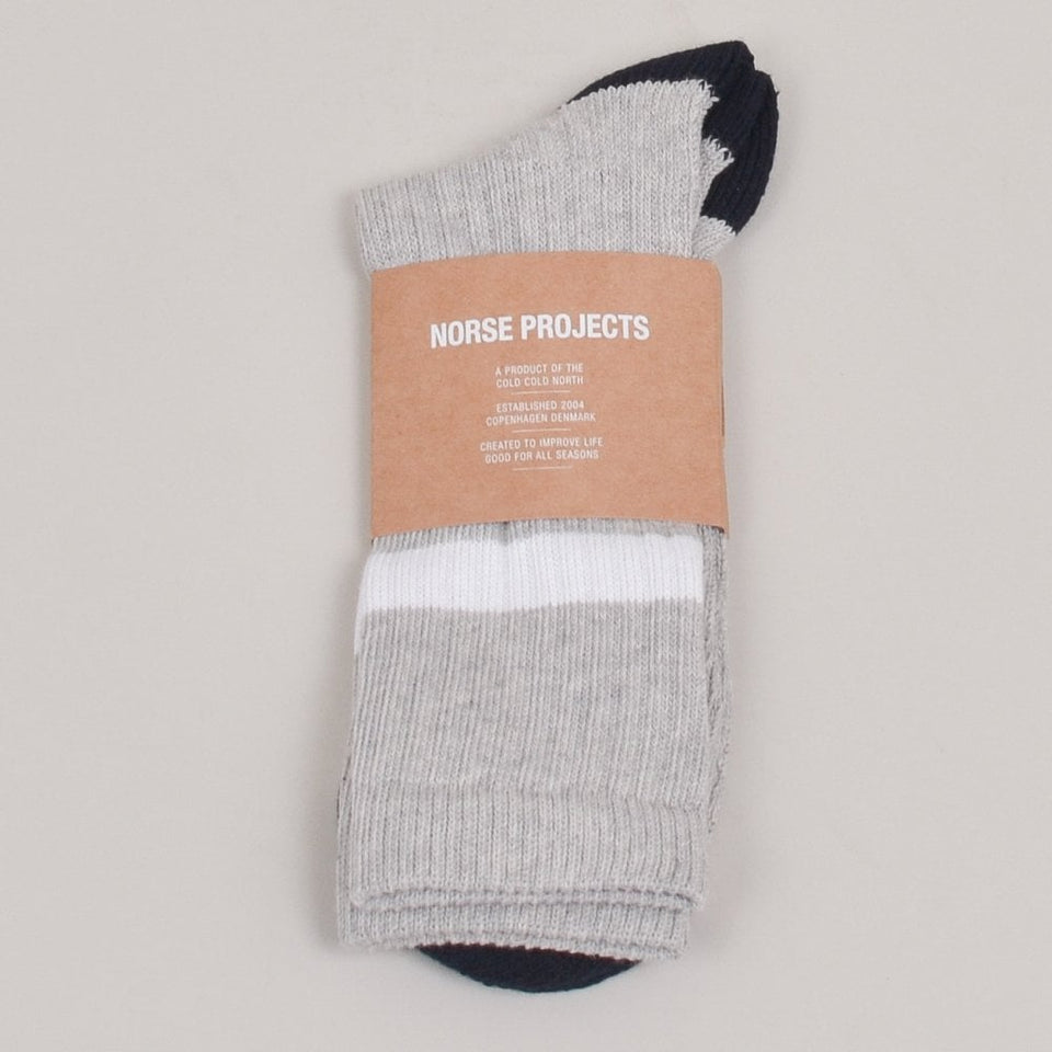 Norse Projects Bjarki Cotton Sport Sock - Light Grey Melange
