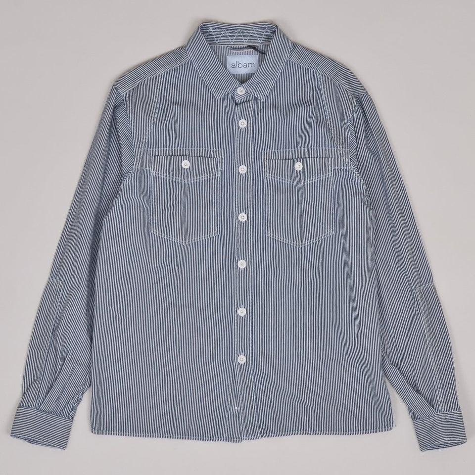 Albam Carpenters Work Shirt - Indigo Stripe