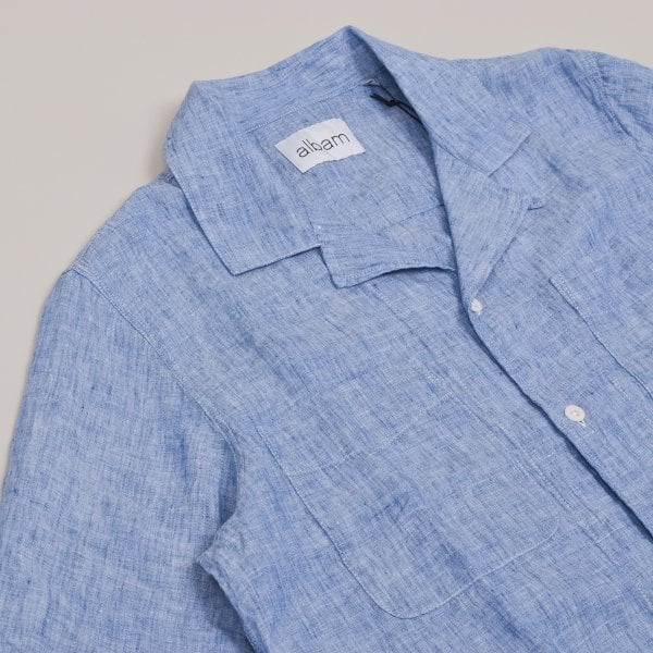 Albam SS Reverse Collar Shirt Linen - Light Blue
