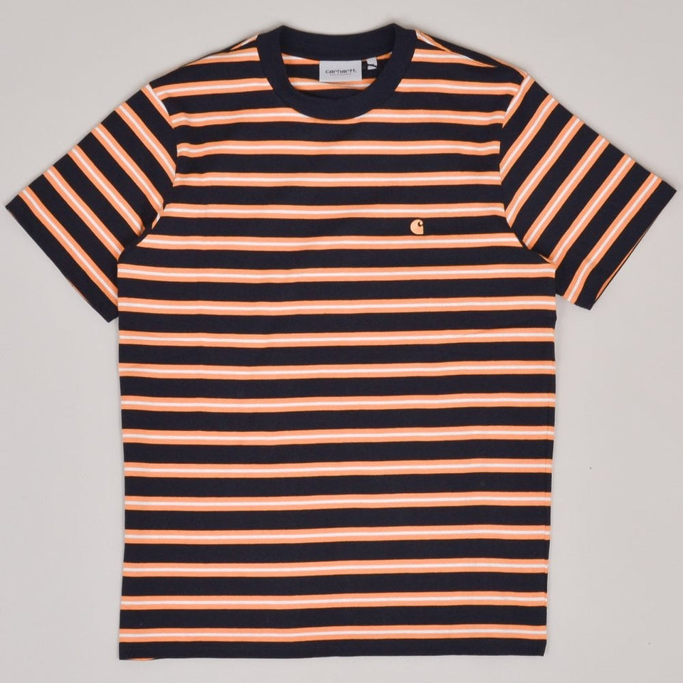 Carhartt WIP S/S Oakland T-Shirt - Dark Navy/Pop Orange