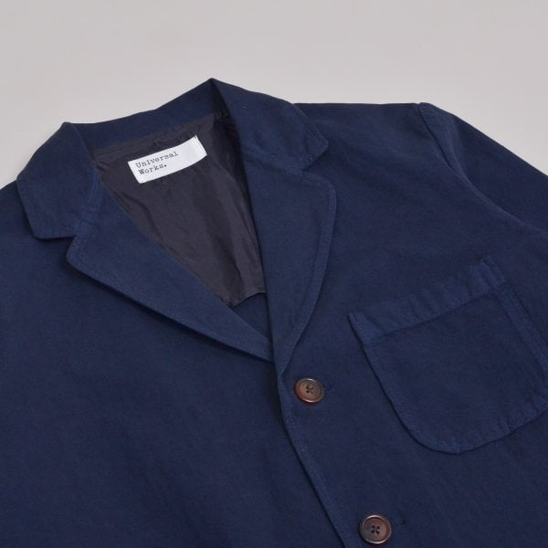 Universal Works Three Button Jacket Linen Cotton - Navy