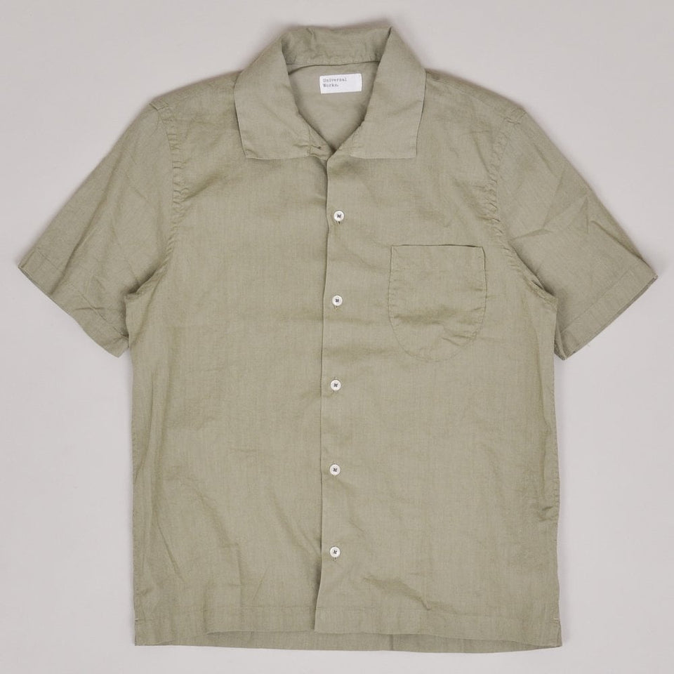 Universal Works Open Collar Shirt Linen - Laurel