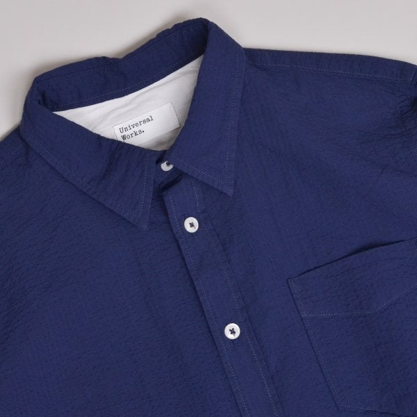 Universal Works New Standard Shirt Seersucker - Navy