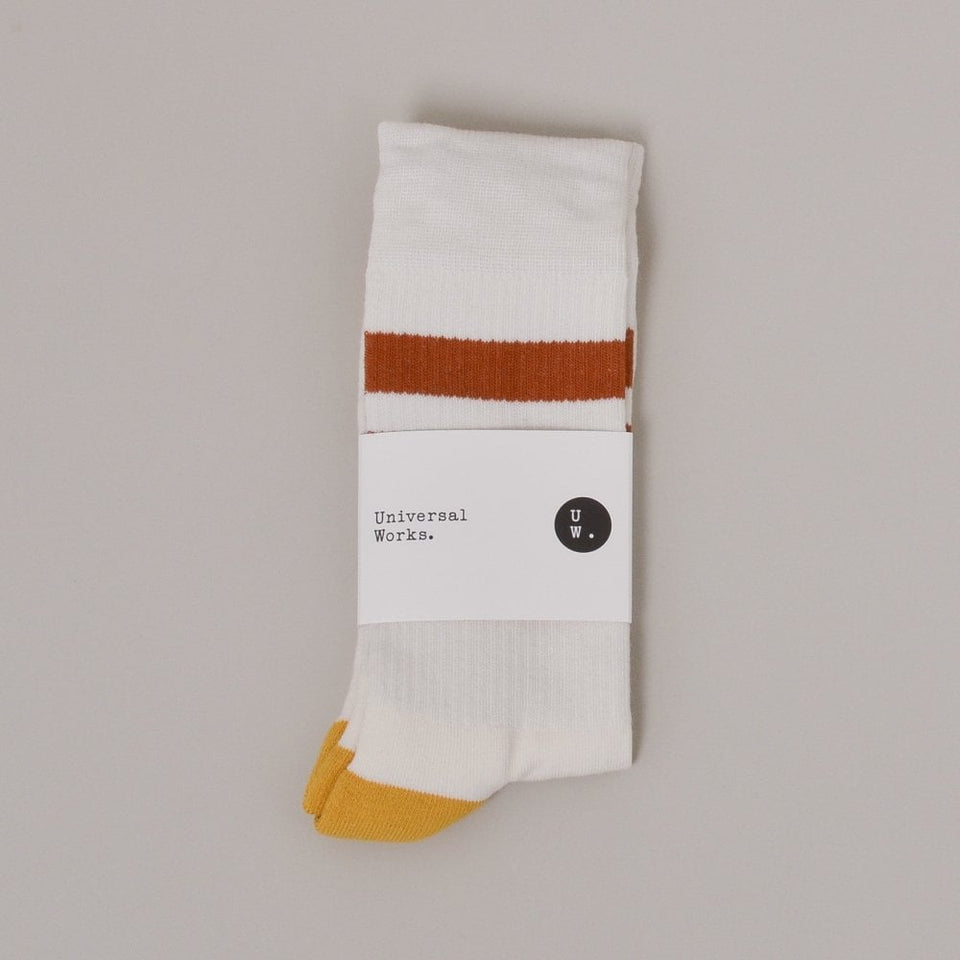 Universal Works Sport Sock - Ecru / Orange