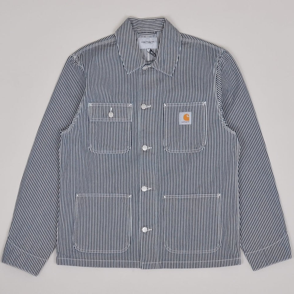 Carhartt WIP Michigan Chore Coat Blue / White Rinsed