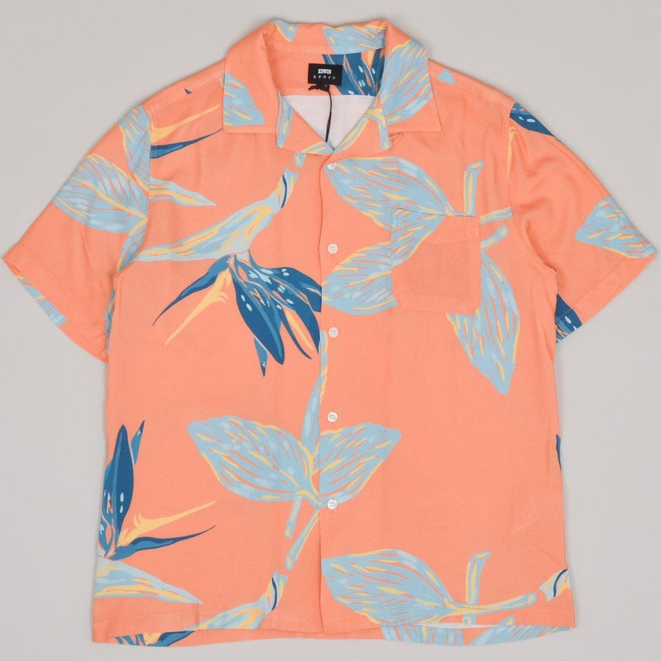 Edwin Resort SS Shirt Birds of Paradise - Cantalope