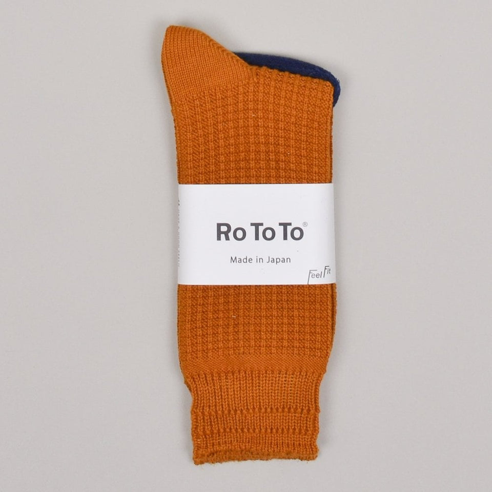 RoToTo Cotton Waffle Socks - Dark Yellow