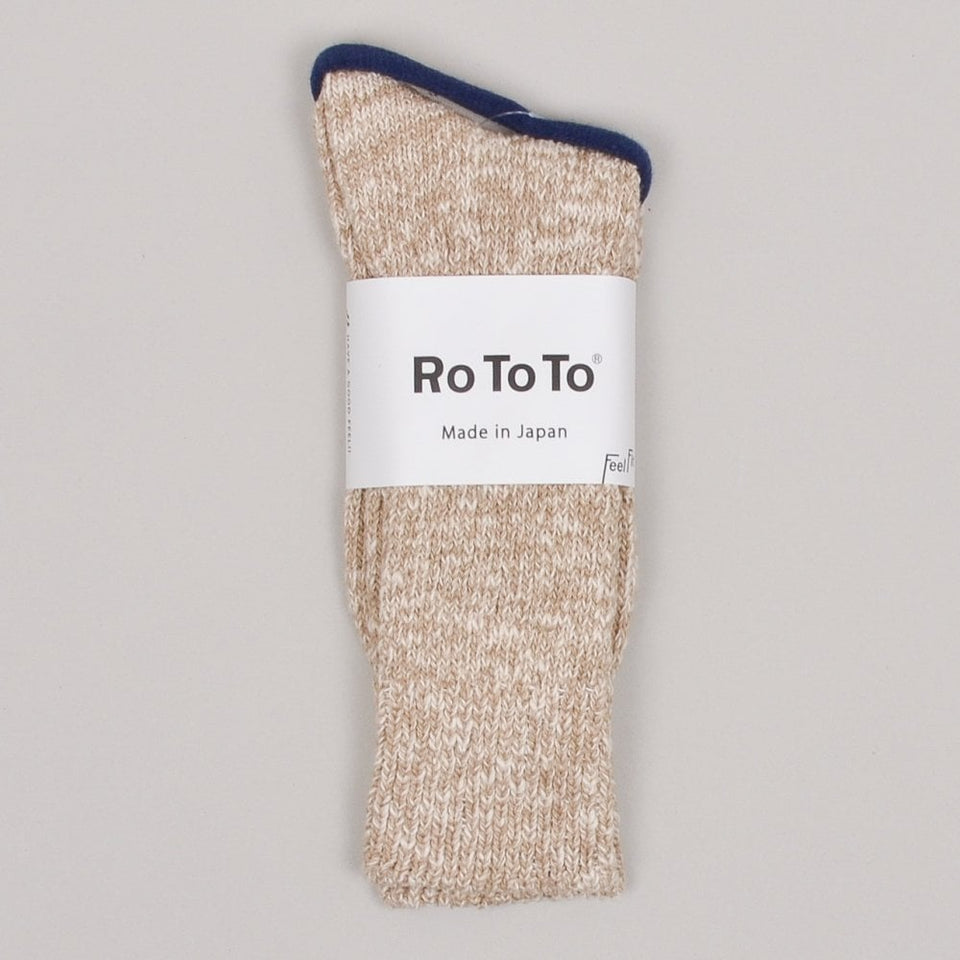 RoToTo Low Gauge Slub Crew Socks - Beige