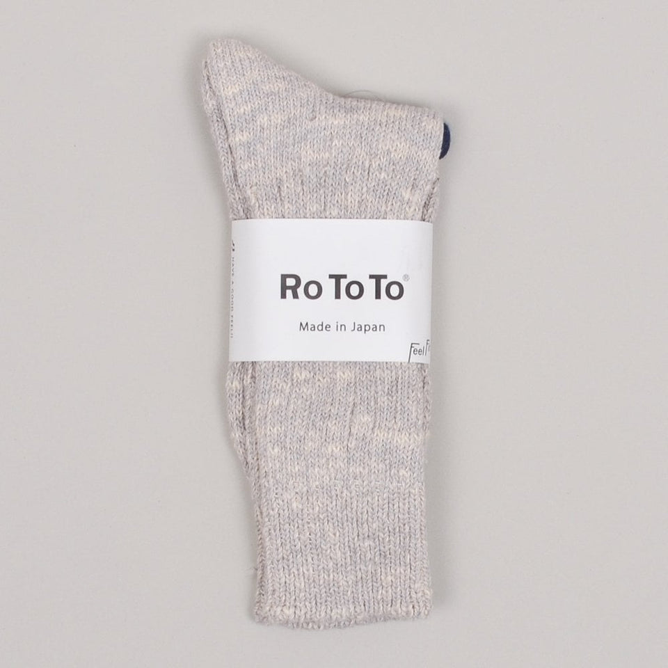 RoToTo Low Gauge Slub Crew Socks - Light Grey