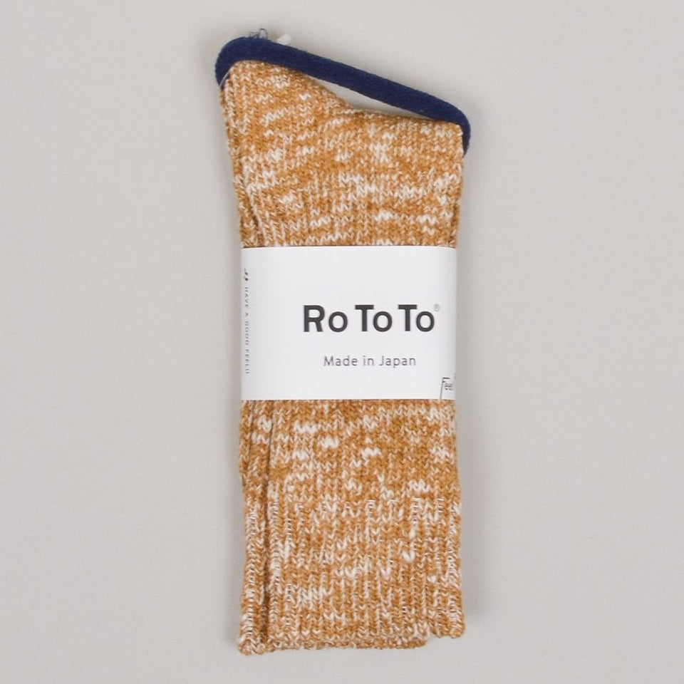RoToTo Low Gauge Slub Crew Socks - Mustard