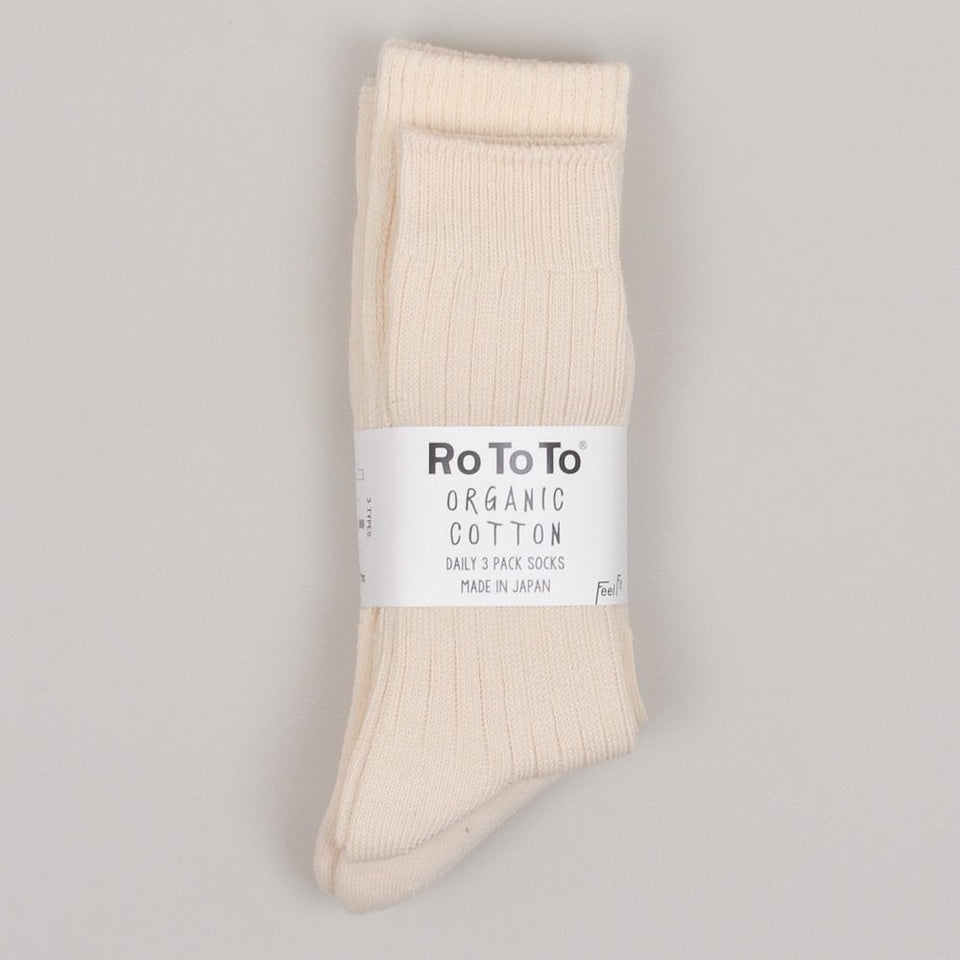 RoToTo Organic Daily 3 Pack Socks - Off White