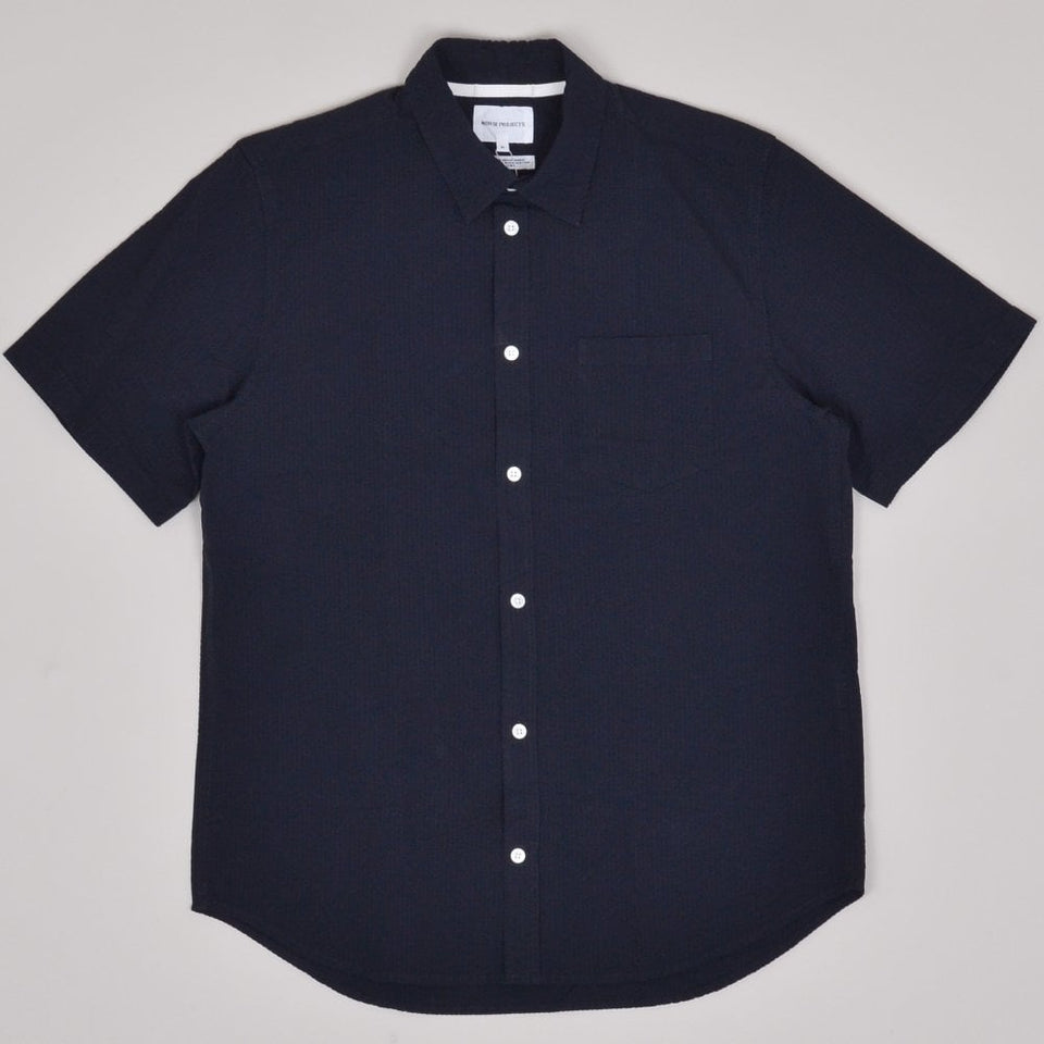 Norse Projects Osvald Seersucker SS Shirt - Dark Navy