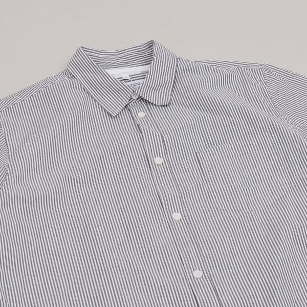 Norse Projects Osvald Seersucker SS Shirt - Navy Stripe