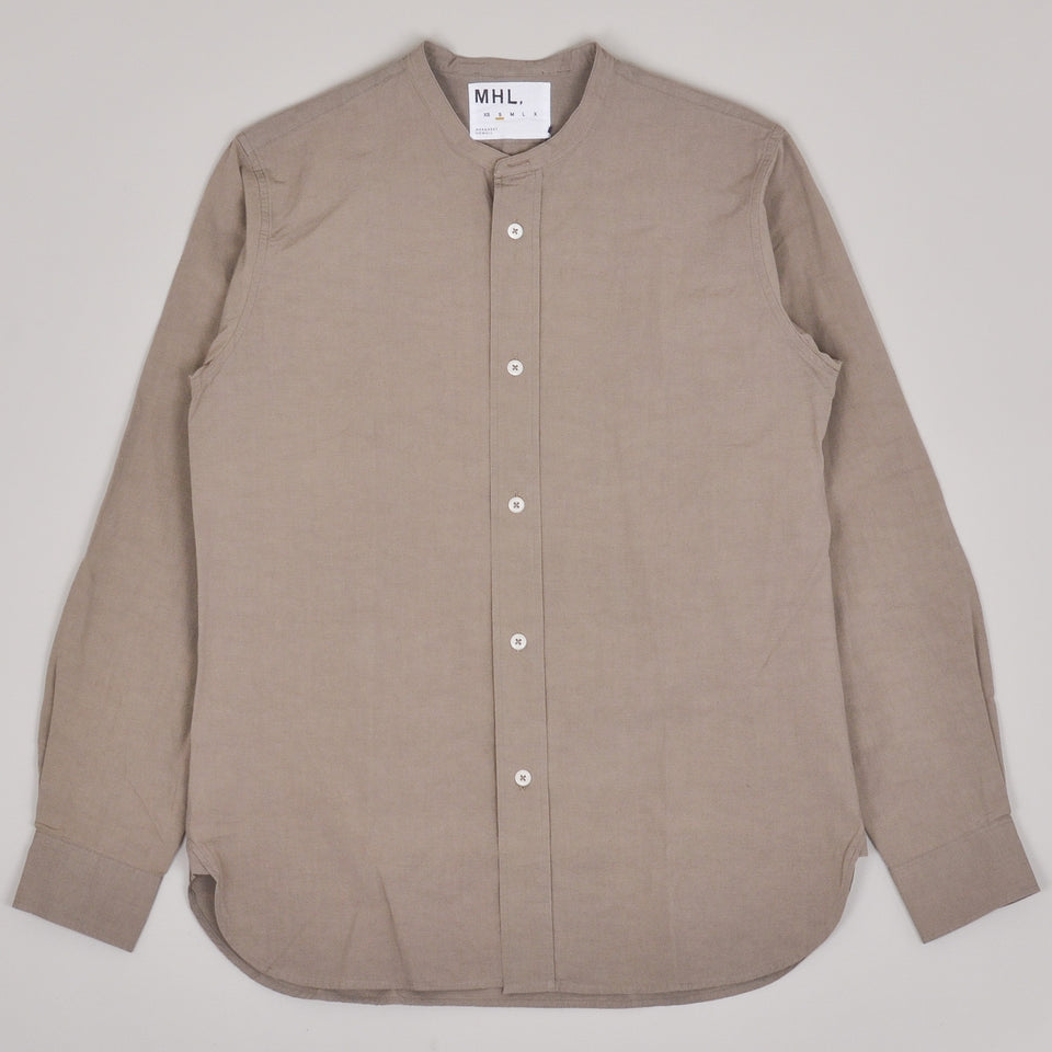 Margaret Howell MHL Collarless Shirt Cotton Linen Plainweave - Mouse
