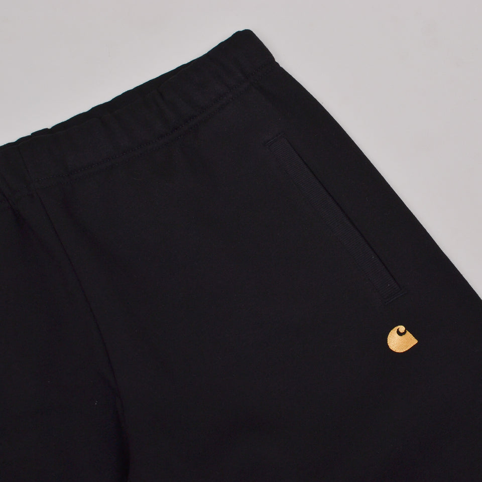 Carhartt WIP Chase Sweat Shorts - Black / Gold