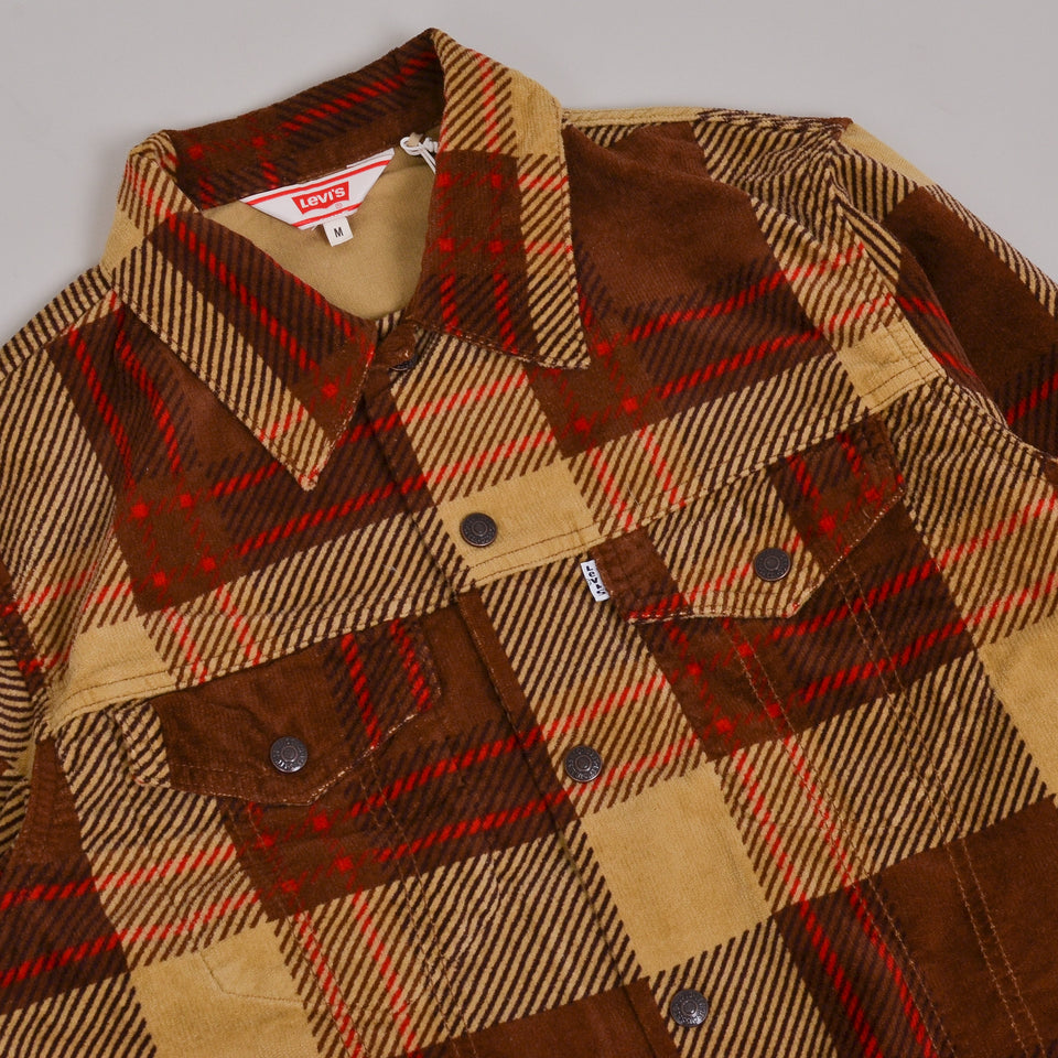 Levi's Vintage Clothing Plaid Cord Trucker - Oxblood Plain Purple