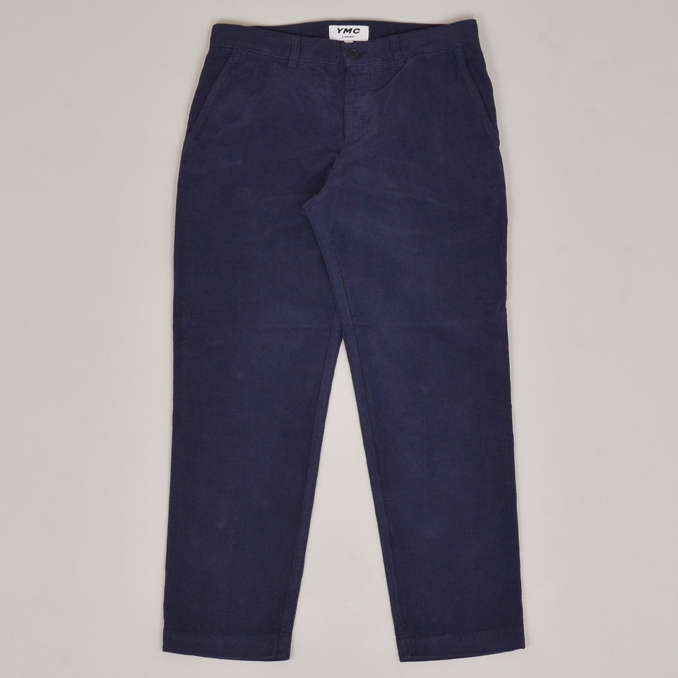 YMC Hand Me Down Organic Cotton Checker Cord Trousers - Navy