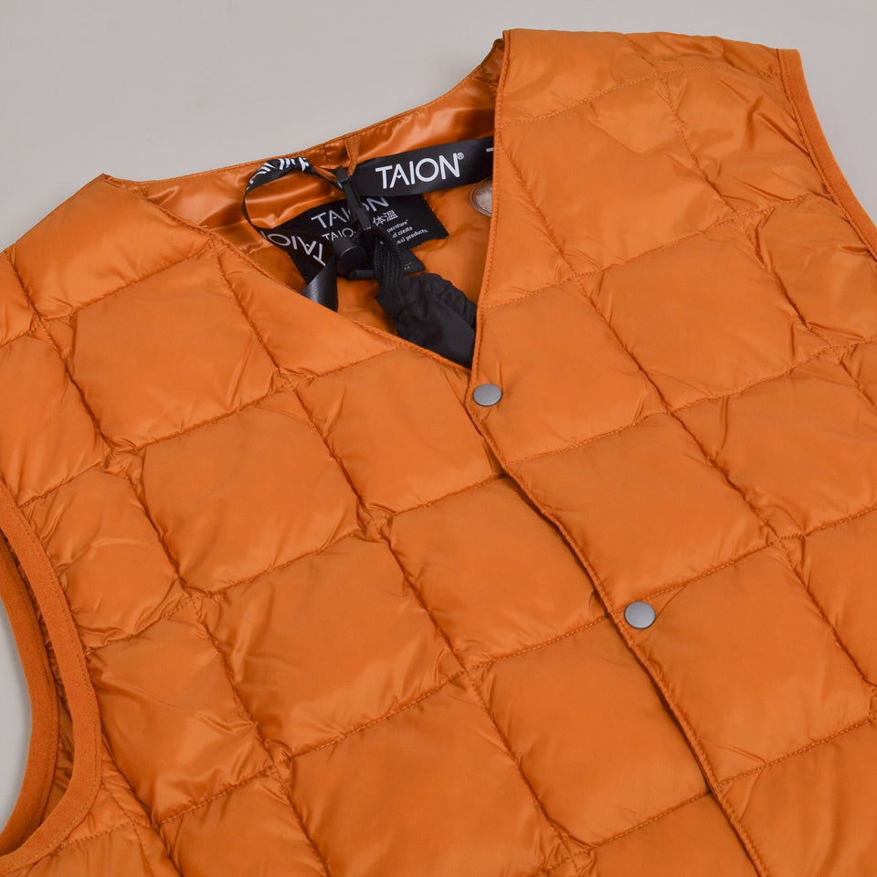Taion - 001 V Neck Button Down Vest - Dark Orange
