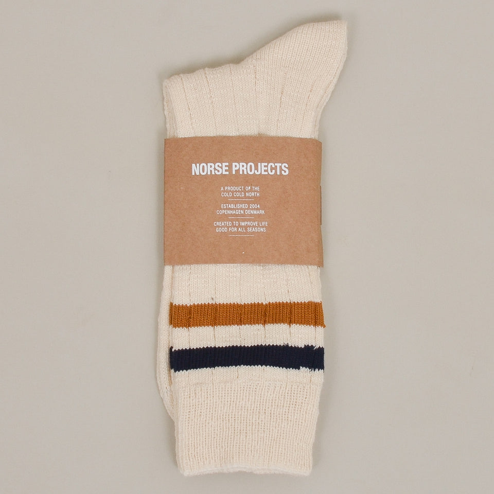 Norse Projects Bjarki Cotton Slub Stripe Sock - Cadmium Orange
