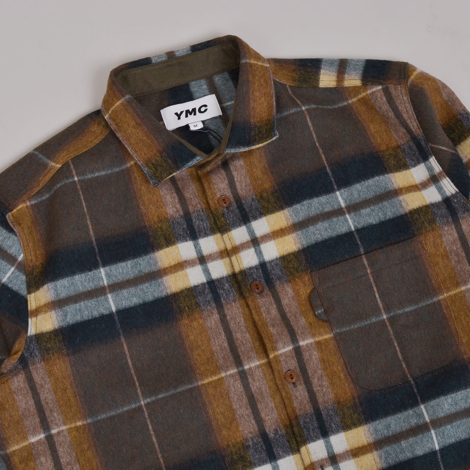 YMC Curtis Shirt Wool Check - Olive