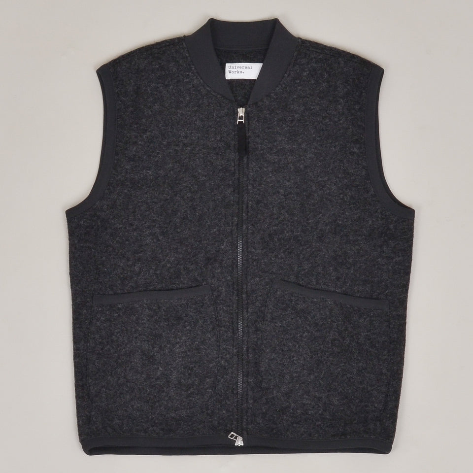 Universal Works Zip Waistcoat Wool Fleece - Charcoal