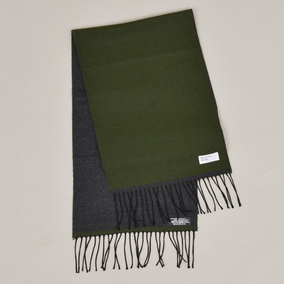 Universal Works Double Sided Scarf - Olive/Charcoal