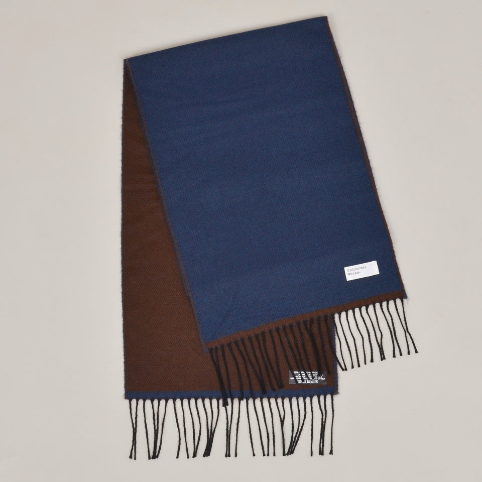 Universal Works Double Sided Scarf - Blue/Chocolate