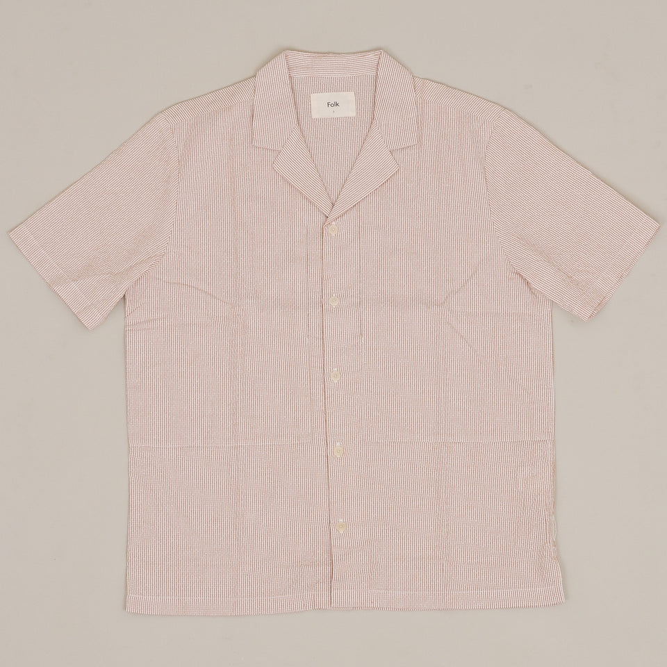 Folk Junction Shirt SS - Tan Stripe