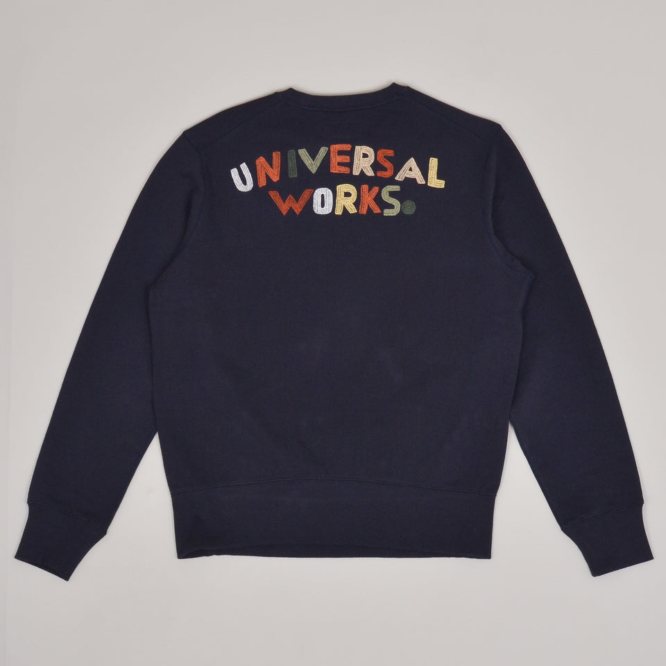 Universal Works Embroidered Sweatshirt Loopback - Navy