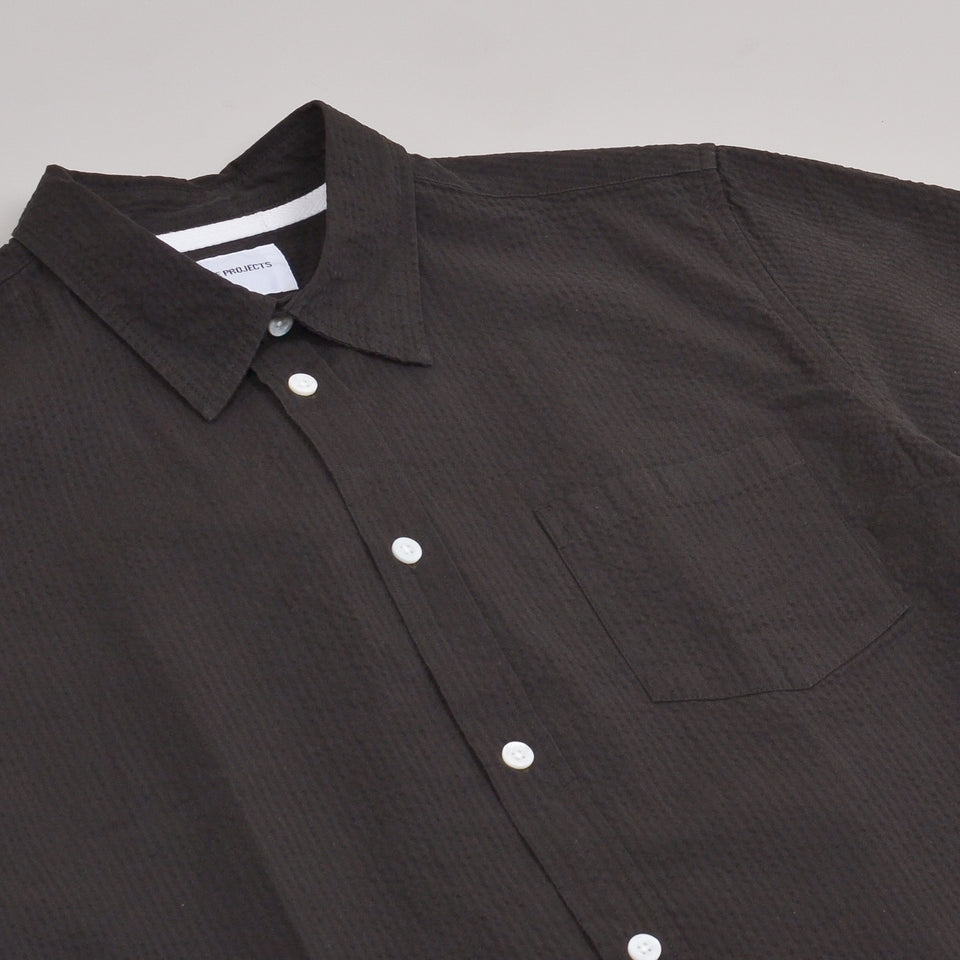 Norse Projects Osvald Seersucker SS Shirt - Beech Green
