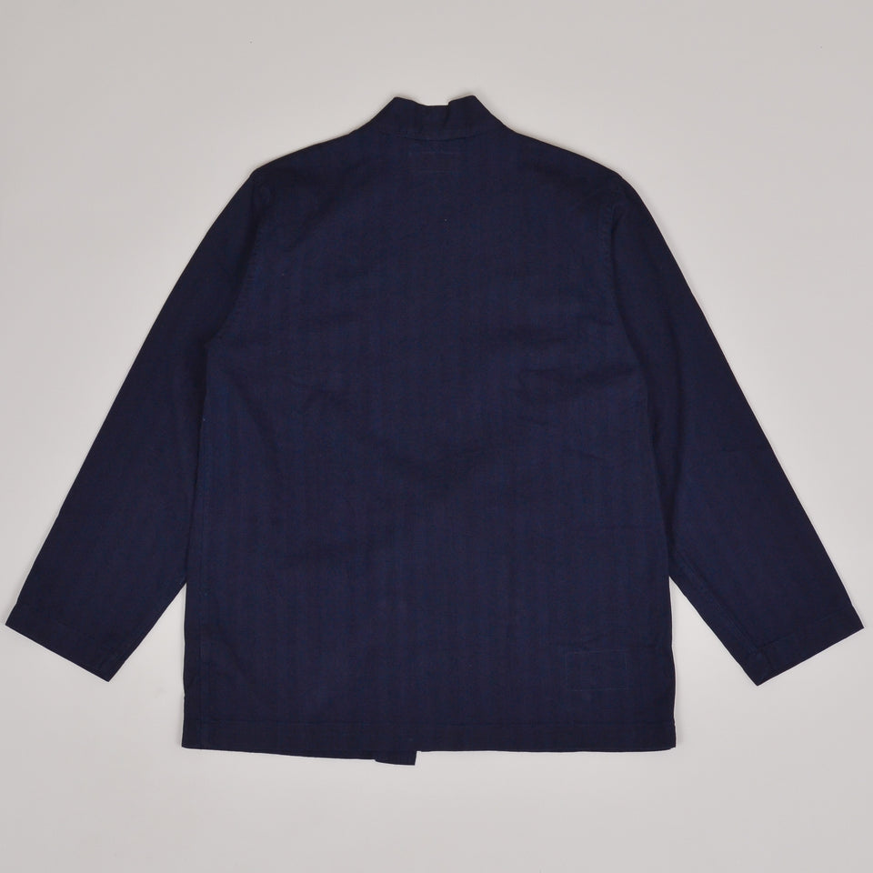 Universal Works Tie Front Jacket Herringbone Denim - Indigo