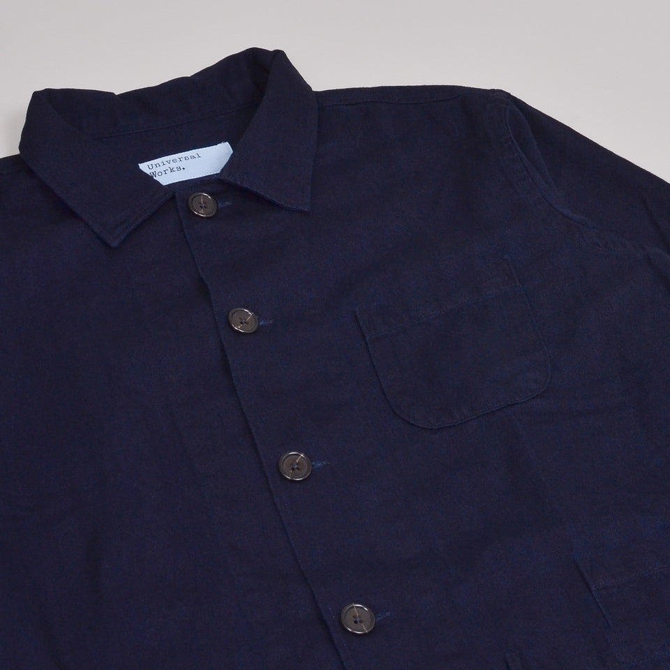 Universal Works Bakers Overshirt Herringbone - Denim Indigo