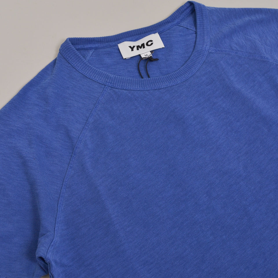 YMC Television Raglan T-Shirt Washed - Blue
