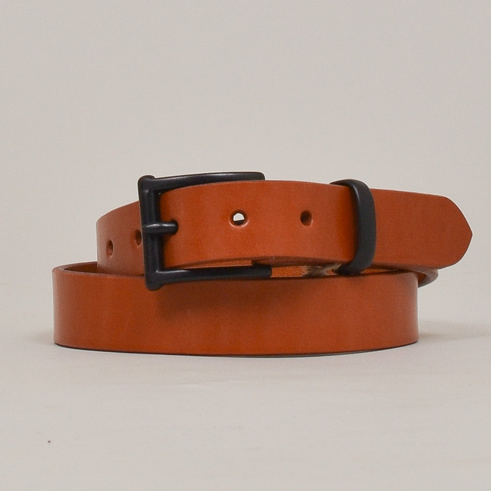 Barnes & Moore Slim English Leather Belt Caramel/Black