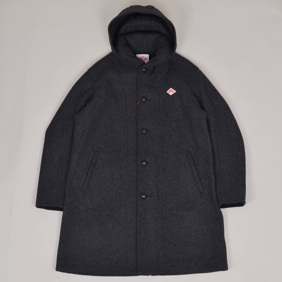 Danton Hooded Wool Coat Long  JD-8075 - Charcoal