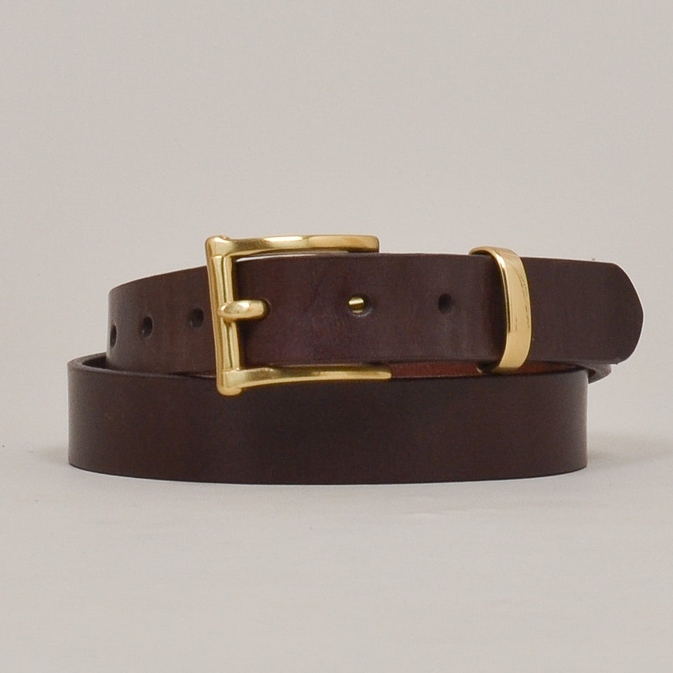 Barnes & Moore Slim English Leather Belt Deep Honey/Brass