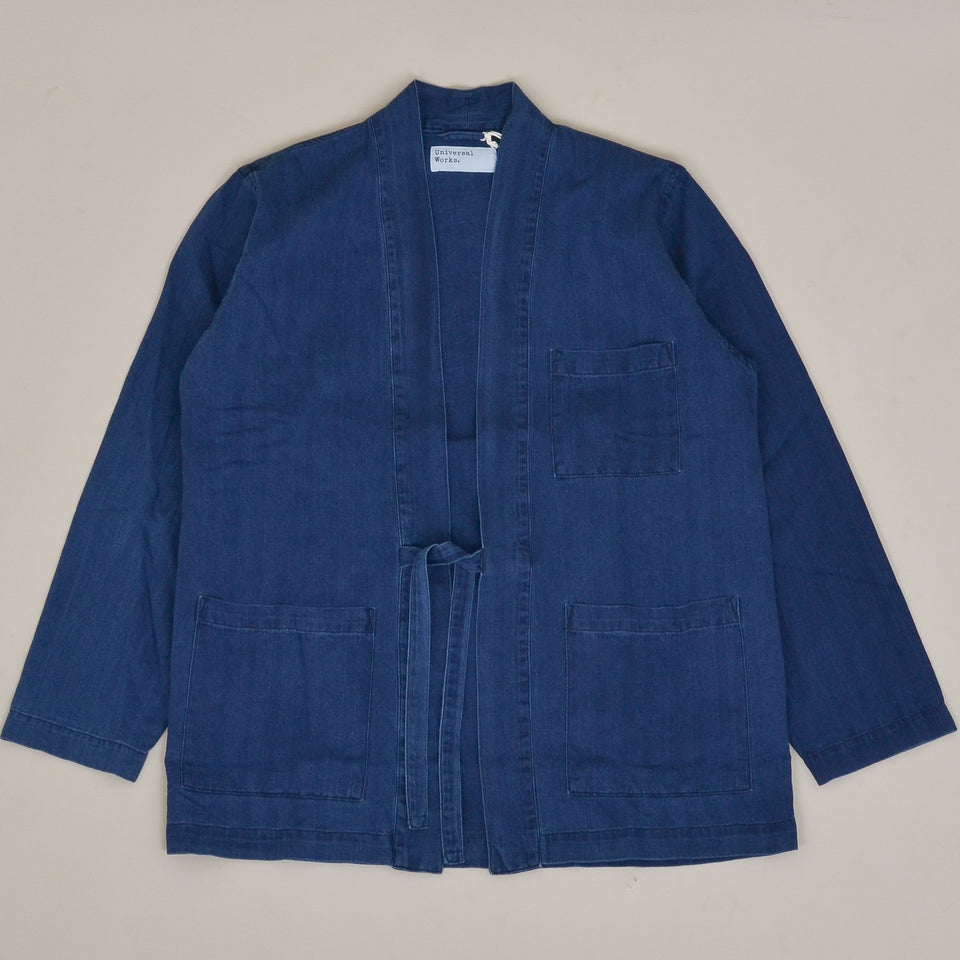 Universal Works Kyoto Work Jacket Herringbone - Washed Indigo