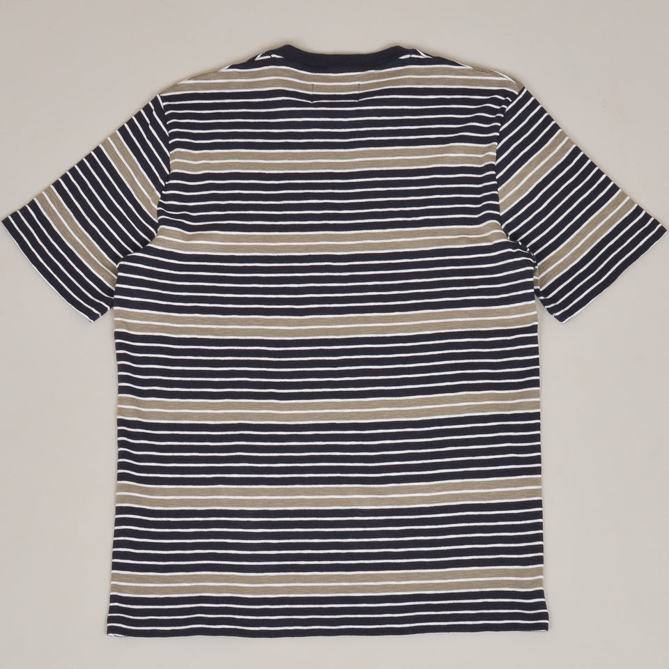 Folk Highlight Stripe Tee - Navy Peat