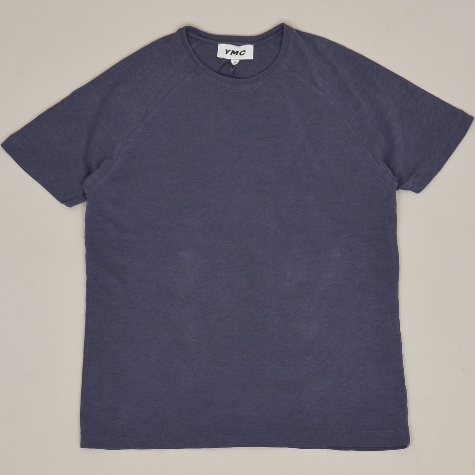 YMC Television Raglan T-Shirt Washed - Navy
