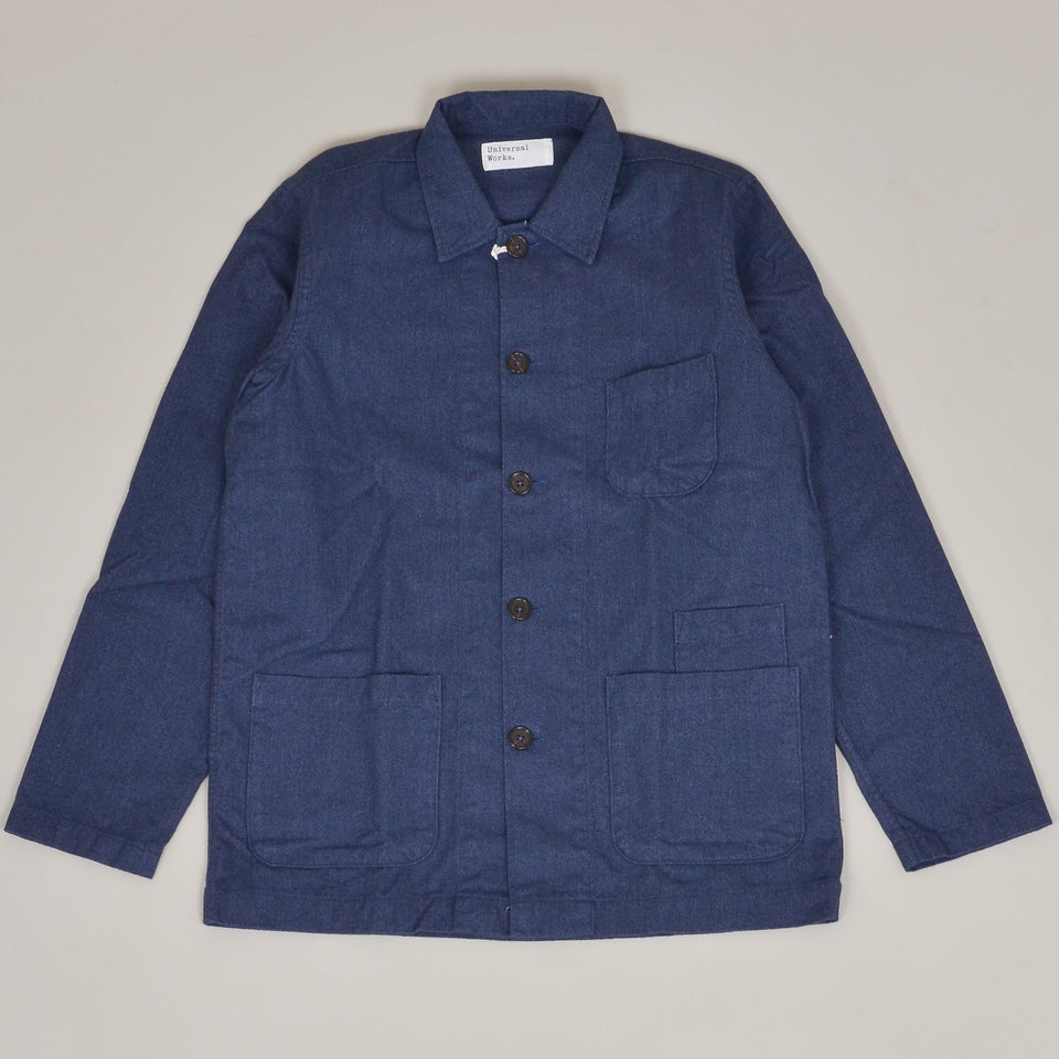 Universal Works Bakers Overshirt Brushed Cotton - Blue