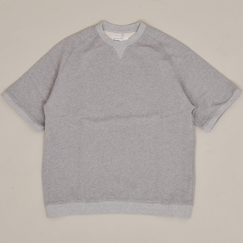 Universal Works Short Sleeve Crew Marl Fleece - Grey Marl