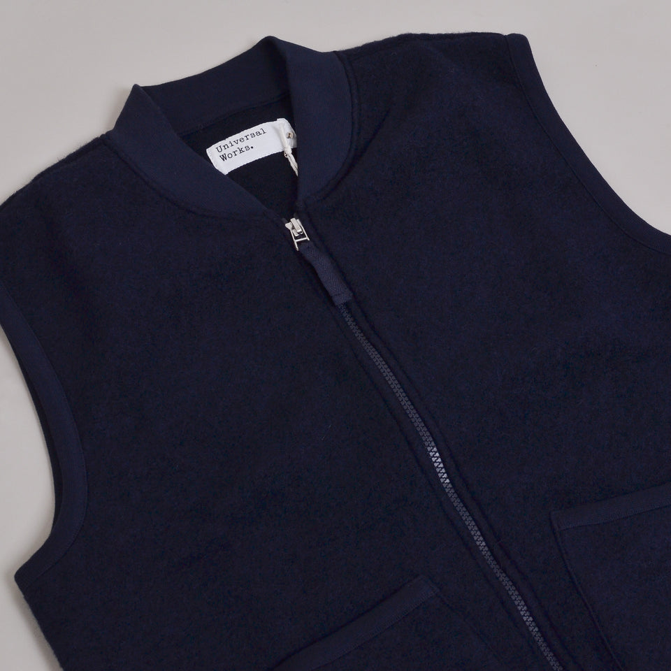 Universal Works Zip Waistcoat Wool Fleece - Navy