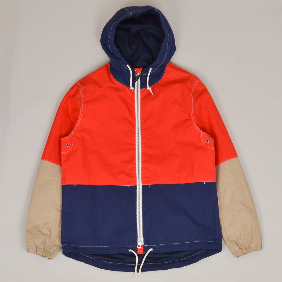 Albam Zip Through Cagoule - Dark Navy/Orange