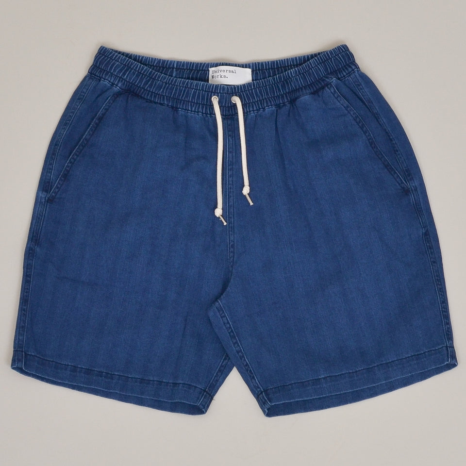 Universal Works Beach Short Herringbone - Washed Indigo