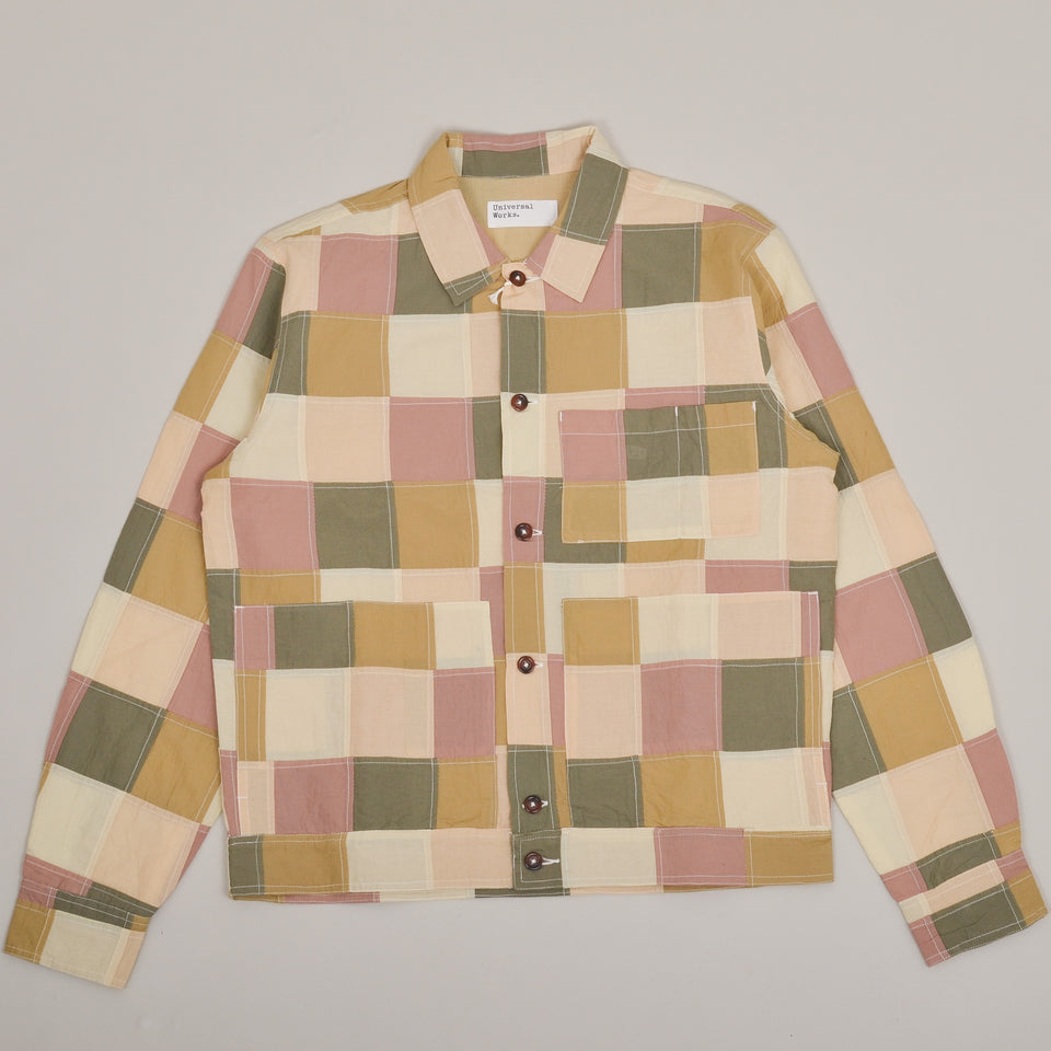 Universal Works Uniform Jacket Patchwork Check - Sand