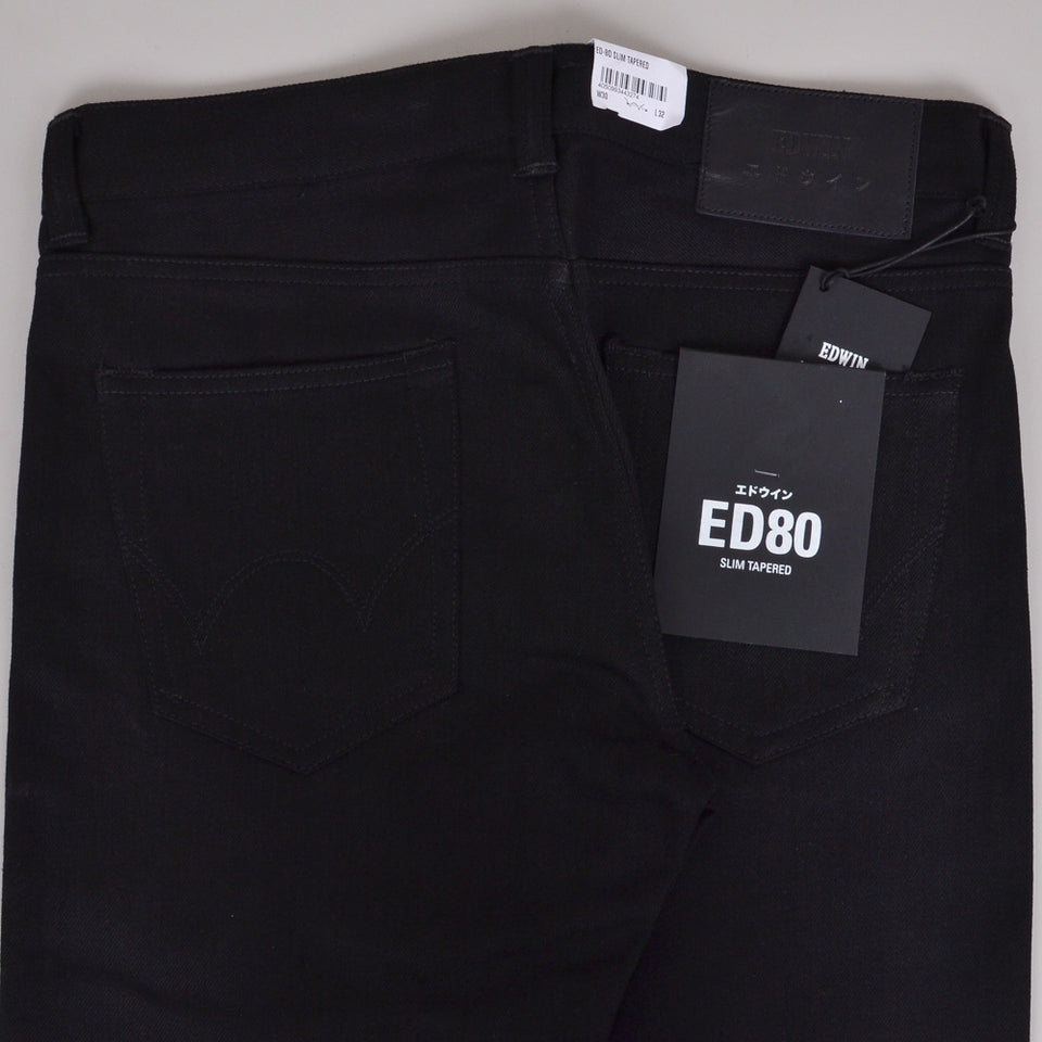 Edwin ED-80 White Listed Black Unwashed
